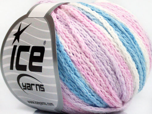 Lot of 8 Skeins Ice Yarns MONACO Yarn Light Blue Light Lilac Pink White