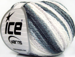 Lot of 8 Skeins Ice Yarns MONACO Hand Knitting Yarn Black Grey White