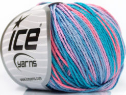 Lot of 8 Skeins Ice Yarns VENICE Yarn Turquoise Shades Salmon Lilac