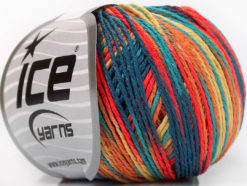 Lot of 8 Skeins Ice Yarns VENICE Yarn Jeans Blue Turquoise Salmon Gold