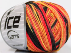 Lot of 8 Skeins Ice Yarns VENICE Hand Knitting Yarn Black Salmon Shades Gold