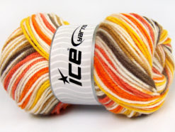 Lot of 4 x 100gr Skeins Ice Yarns GUMBALL Yarn Orange Gold White Yellow Brown Camel
