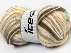 Lot of 4 x 100gr Skeins Ice Yarns GUMBALL Yarn Brown Shades Camel White