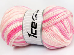 Lot of 4 x 100gr Skeins Ice Yarns GUMBALL Hand Knitting Yarn Pink Shades White
