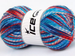 Lot of 4 x 100gr Skeins Ice Yarns BABY MIX Yarn Blue Shades Red Salmon