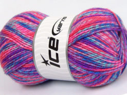 Lot of 4 x 100gr Skeins Ice Yarns BABY MIX Yarn Salmon Blue Shades Pink Shades Lilac