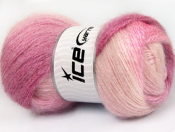 Lot of 4 x 100gr Skeins Ice Yarns MOHAIR PASTEL (10% Mohair 15% Wool) Yarn Pink Shades