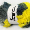 Lot of 4 x 100gr Skeins Ice Yarns LAMBKIN COLOR Yarn Grey Shades Neon Yellow
