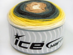 Lot of 2 x 150gr Skeins Ice Yarns CAKES DK Yarn Yellow Grey Shades Light Brown Cream