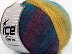 Lot of 4 x 100gr Skeins Ice Yarns ANGORA DESIGN (20% Angora 20% Wool) Yarn Gold Green Turquoise Purple Maroon