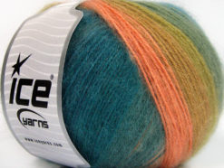 Lot of 4 x 100gr Skeins Ice Yarns ANGORA DESIGN (20% Angora 20% Wool) Yarn Salmon Green Shades Turquoise Blue