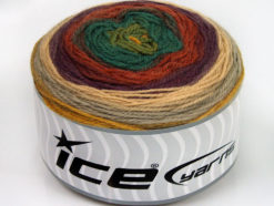 Lot of 2 x 150gr Skeins Ice Yarns CAKES WOOL DK (30% Wool) Yarn Brown Shades Beige Purple Green Shades