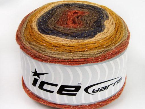 Lot of 2 x 150gr Skeins Ice Yarns CAKES GLITZ Yarn Camel Gold Beige Navy Brown Copper