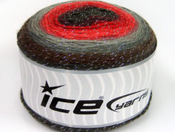 Lot of 2 x 150gr Skeins Ice Yarns CAKES GLITZ Yarn Brown Grey Shades Red Shades Maroon