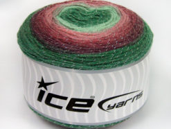 Lot of 2 x 150gr Skeins Ice Yarns CAKES GLITZ Yarn Green Shades Maroon Rose Pink