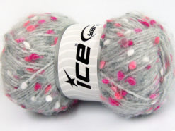 Lot of 3 x 100gr Skeins Ice Yarns BONIBON Hand Knitting Yarn Grey Pink Shades