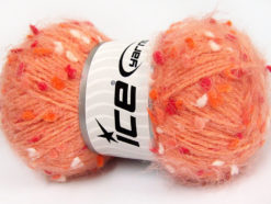 Lot of 3 x 100gr Skeins Ice Yarns BONIBON Yarn Light Salmon Fuchsia White Orange