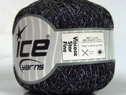 Lot of 6 Skeins Ice Yarns VISCOSE STAR FINE (75% Viscose) Yarn Black Silver