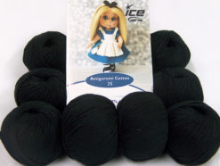 Lot of 8 Skeins Ice Yarns AMIGURUMI COTTON 25 (50% Cotton) Yarn Black