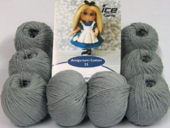 Lot of 8 Skeins Ice Yarns AMIGURUMI COTTON 25 (50% Cotton) Yarn Light Grey