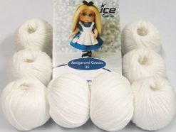 Lot of 8 Skeins Ice Yarns AMIGURUMI COTTON 25 (50% Cotton) Yarn White