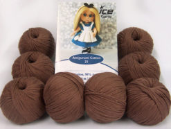 Lot of 8 Skeins Ice Yarns AMIGURUMI COTTON 25 (50% Cotton) Yarn Brown