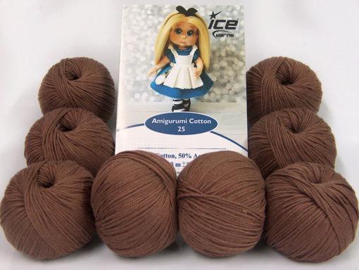 Lot of 8 Skeins Ice Yarns AMIGURUMI COTTON 25 (50% Cotton) Yarn Brown