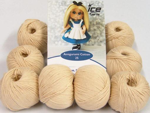 Lot of 8 Skeins Ice Yarns AMIGURUMI COTTON 25 (50% Cotton) Yarn Dark Cream