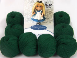 Lot of 8 Skeins Ice Yarns AMIGURUMI COTTON 25 (50% Cotton) Yarn Dark Green