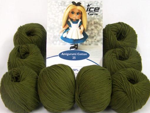 Lot of 8 Skeins Ice Yarns AMIGURUMI COTTON 25 (50% Cotton) Yarn Dark Khaki