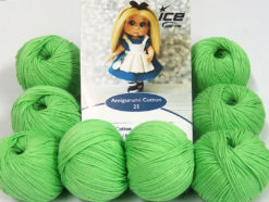 Lot of 8 Skeins Ice Yarns AMIGURUMI COTTON 25 (50% Cotton) Yarn Light Green