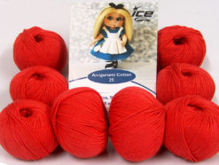 Lot of 8 Skeins Ice Yarns AMIGURUMI COTTON 25 (50% Cotton) Yarn Tomato Red