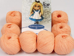 Lot of 8 Skeins Ice Yarns AMIGURUMI COTTON 25 (50% Cotton) Yarn Light Salmon