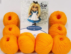 Lot of 8 Skeins Ice Yarns AMIGURUMI COTTON 25 (50% Cotton) Yarn Light Orange