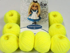 Lot of 8 Skeins Ice Yarns AMIGURUMI COTTON 25 (50% Cotton) Yarn Neon Yellow