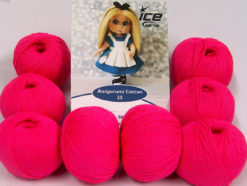 Lot of 8 Skeins Ice Yarns AMIGURUMI COTTON 25 (50% Cotton) Yarn Neon Pink