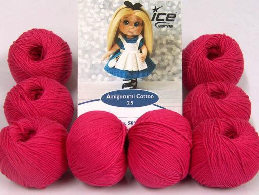 Lot of 8 Skeins Ice Yarns AMIGURUMI COTTON 25 (50% Cotton) Yarn Fuchsia
