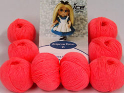 Lot of 8 Skeins Ice Yarns AMIGURUMI COTTON 25 (50% Cotton) Yarn Neon Salmon