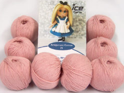 Lot of 8 Skeins Ice Yarns AMIGURUMI COTTON 25 (50% Cotton) Yarn Rose Pink