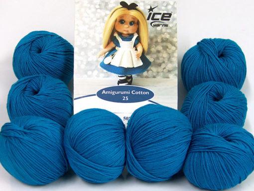 Lot of 8 Skeins Ice Yarns AMIGURUMI COTTON 25 (50% Cotton) Yarn Dark Turquoise