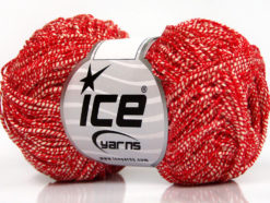 Lot of 8 Skeins Ice Yarns URBAN COTTON LUX (60% Cotton 28% Viscose) Yarn Red White