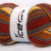 Lot of 4 x 100gr Skeins Ice Yarns SALE SOCK YARN (75% Superwash Wool) Yarn Copper Grey Cream Yellow