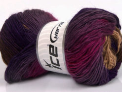 Lot of 4 x 100gr Skeins Ice Yarns RAINBOW Yarn Purple Shades Fuchsia Brown Shades