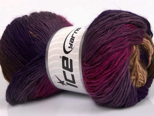 Lot of 4 x 100gr Skeins Ice Yarns RAINBOW Yarn Purple Shades Fuchsia Brown Shades