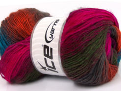 Lot of 4 x 100gr Skeins Ice Yarns RAINBOW Yarn Fuchsia Burgundy Dark Green Copper Turquoise