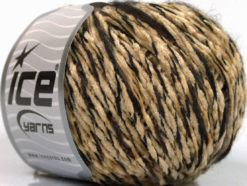 Lot of 8 Skeins Ice Yarns CHENILLE WOOL FLAMME (15% Wool) Yarn Cafe Latte Dark Brown Black