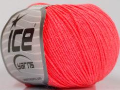 Lot of 8 Skeins Ice Yarns BABY SUMMER (60% Cotton) Yarn Neon Salmon