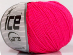 Lot of 8 Skeins Ice Yarns BABY SUMMER (60% Cotton) Hand Knitting Yarn Neon Pink