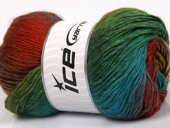 Lot of 4 x 100gr Skeins Ice Yarns RAINBOW Yarn Green Turquoise Copper Gold Brown