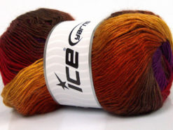 Lot of 4 x 100gr Skeins Ice Yarns RAINBOW Yarn Gold Copper Brown Red Purple